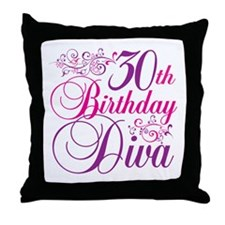 30th Birthday Diva Throw Pillow