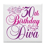 30th Birthday Diva Tile Coaster