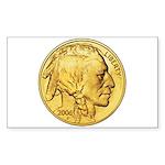 Gold Indian Head Rectangle Sticker 10 pk)