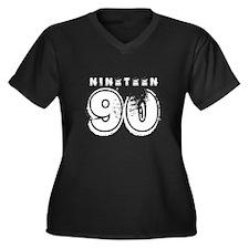 1990 Women's Plus Size V-Neck Dark T-Shirt