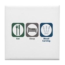 Eat Sleep Wood Carving Tile Coaster