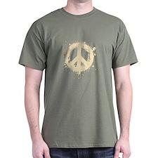 Peace Grunge T-Shirt - Cream Print
