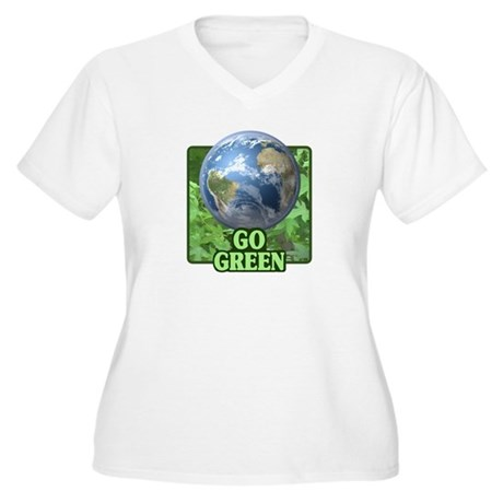 Go Green Women's Plus Size V-Neck T-Shirt