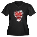 Heart Missouri Women's Plus Size V-Neck Dark T-Shi