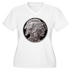 Silver Indian Head Women's Plus Size V-Neck T-Shir