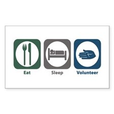 Eat Sleep Volunteer Rectangle Sticker 10 pk)