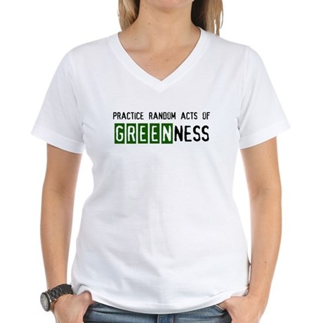 Random acts of Greenness Women's V-Neck T-Shirt