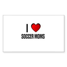 I LOVE SOCCER MOMS Rectangle Decal