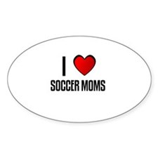 I LOVE SOCCER MOMS Oval Decal
