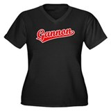 Retro Gannon (Red) Women's Plus Size V-Neck Dark T