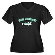 1322 Holy Mackeral Women's Plus Size V-Neck Dark T