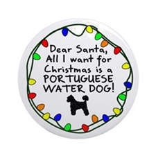 Dr Snt Portuguese Water Dog Xmas Ornament (Round)