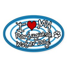 Hypno I Love My Portuguese Water Dog Sticker Blue
