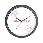 Father of Twins - Pink Wall Clock