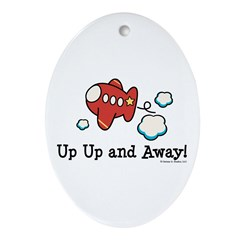 Up Up and Away Airplane Oval Ornament