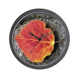 Fall Aspen Leaf Wall Clock