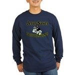Jesus Saves Long Sleeve Dark T-Shirt