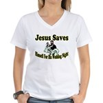 Jesus Saves Women's V-Neck T-Shirt