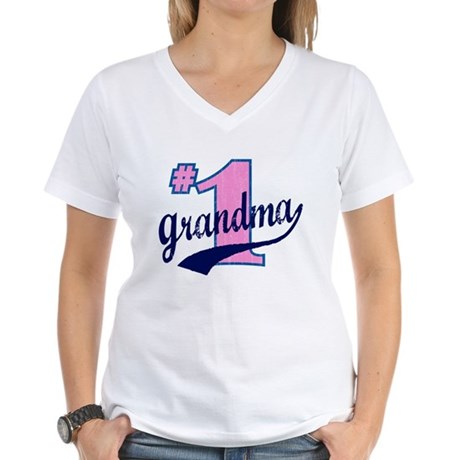 #1 Grandma Women's V-Neck T-Shirt