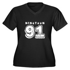 1991 Women's Plus Size V-Neck Dark T-Shirt