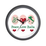 Peace Love Italia Italy Wall Clock