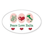 Peace Love Italia Italy Oval Sticker