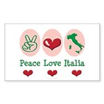 Peace Love Italia Italy Rectangle Sticker 10 pk)