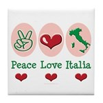 Peace Love Italia Italy Tile Coaster