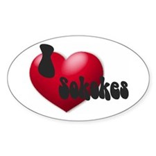 """I Love Sokokes!"" Oval Decal"