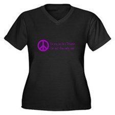 Imagine Peace Sign Women's Plus Size V-Neck Dark T
