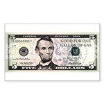 $5. a Gallon Gas Rectangle Sticker
