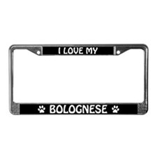 I Love My Bolognese License Plate Frame