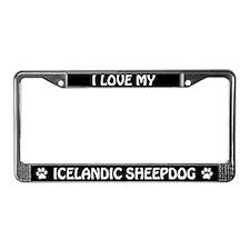 I Love My Icelandic Sheepdog License Plate Frame