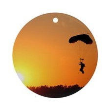 Skydiving Christmas Ornament (Round)