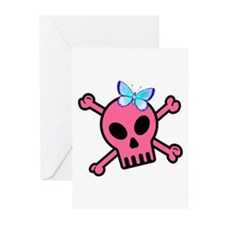 Pink Butterfly Catcher Skull Greeting Cards (Pk of