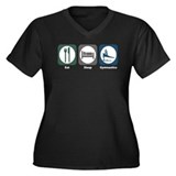 Eat Sleep Gymnastics Women's Plus Size V-Neck Dark