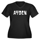Ayden Faded (Silver) Women's Plus Size V-Neck Dark