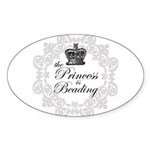 The Princess Is Beading Oval Sticker (10 pk)