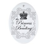The Princess Is Beading Oval Ornament