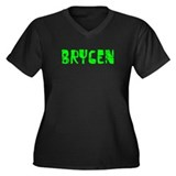 Brycen Faded (Green) Women's Plus Size V-Neck Dark