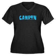 Camryn Faded (Blue) Women's Plus Size V-Neck Dark