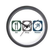 Eat Sleep Flowers Wall Clock