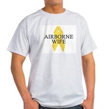 Airborne Wife Ribbon Ash Grey T-Shirt