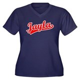 Retro Jayla (Red) Women's Plus Size V-Neck Dark T-