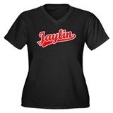Retro Jaylin (Red) Women's Plus Size V-Neck Dark T