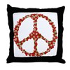 Ladybugs Peace Sign Throw Pillow