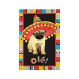 Fiesta Pug Rectangle Magnet