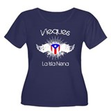 Vieques Women's Plus Size Scoop Neck Dark T-Shirt