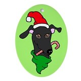 Oval Ornament Black Greyhound Santa Candy Cane