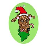 Oval Ornament Brindle Greyhound Santa Candy Cane